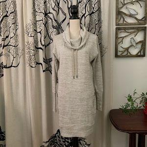 Athleta Heathered Cowl Knit Sweatshirt Dress